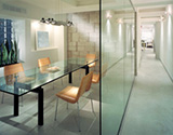 glass tabletops in office